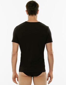 T-Shirt girocollo Cotton Stretch nero in cotone elasticizzato-LOVABLE