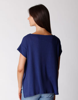 T-shirt manica corta in cotone e lino, blu, , LOVABLE