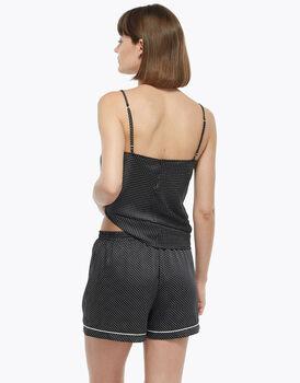 Shorts con elastico in vita e coulisse, pois, in satin, , LOVABLE