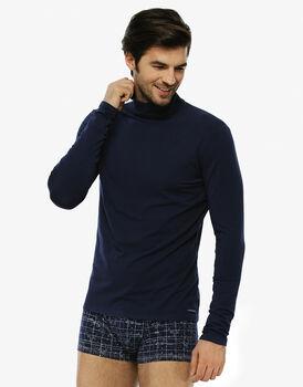 T-shirt manica lunga blu navy in cotone modal stampato con collo alto-LOVABLE
