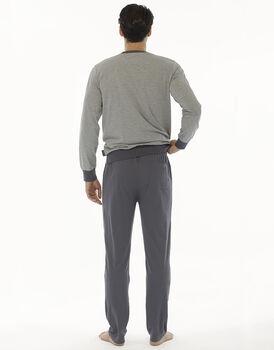 Pigiama manica e gamba lunga grigio melange in jersey di cotone , , LOVABLE