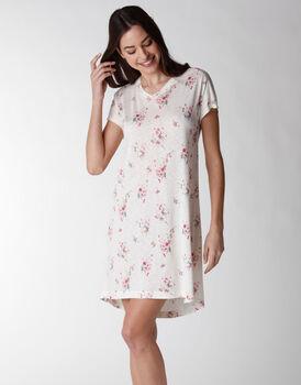 Camicia da notte manica corta in viscosa, stampa floreale, , LOVABLE