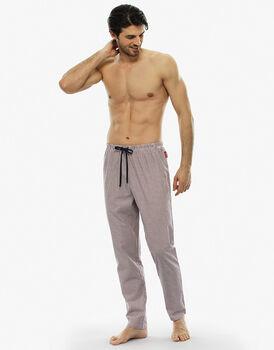 Pantalone lungo, righe rosse e bianche, in tela di cotone-LOVABLE