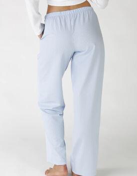 Pantaloni lunghi in operato maglia cotone e sorona, colore lightblue e white, , LOVABLE
