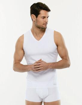 Smanicato Invisible Cotton bianco in cotone elasticizzato con scollo a V-LOVABLE