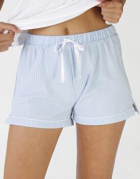 Shorts in operato maglia cotone e sorona, colore lightblue e white, , LOVABLE