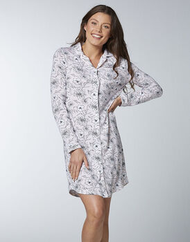 Camicia da notte femminile in cotone modal, stampa floreale su avorio, , LOVABLE
