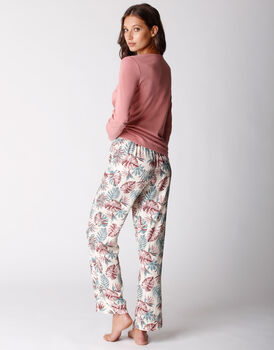 Pigiama lungo in jersey di modal e cotone e tela di viscosa, rosa polvere, , LOVABLE
