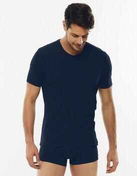 T-Shirt 24h Freshness blu in cotone elasticizzato con scollo a V-LOVABLE