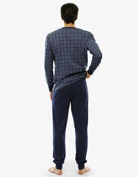 Pigiama manica e gamba lunga grigio acciaio in jersey di cotone con taschino-LOVABLE