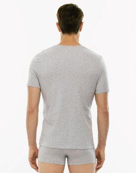 T-Shirt Cotton Stretch grigio melange in cotone elasticizzato con scollo a V profondo-LOVABLE