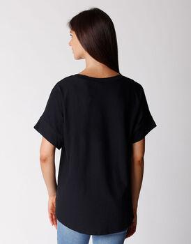 T-shirt manica 3/4 in cotone organico, nera, , LOVABLE