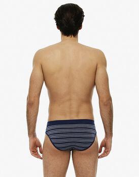 Slip rigato blu brillante in cotone elasticizzato-LOVABLE