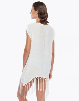 Maxi maglia con scollo e frange sul fondo, avorio, , LOVABLE