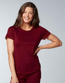 T-shirt M/C in viscosa, bordeaux, , LOVABLE