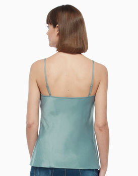 Top in cotone satin, verde, , LOVABLE