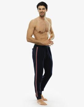 Pantalone lungo blu notte in felpa leggera con tasca sul retro-LOVABLE