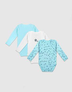 Body neonato a manica lunga in cotone biologico pacco da 3, fantasia con stelle, bianco e azzurro, , LOVABLE