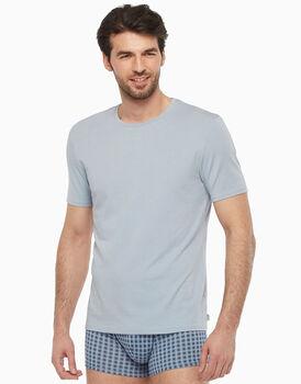T-shirt in cotone modal, azzurro ghiaccio con stampa a quadri, , LOVABLE