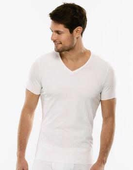 T-shirt in cotone elasticizzato, bianca , , LOVABLE