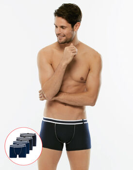 Short Boxer Easy Trend, confezione x4 colori nero e blu, , LOVABLE