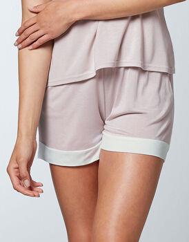 Pantaloncino 100% modal, colore malva e avorio, , LOVABLE