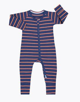 Tutina Lovable Baby in costina di cotone, a righe blu e arancioni, , LOVABLE