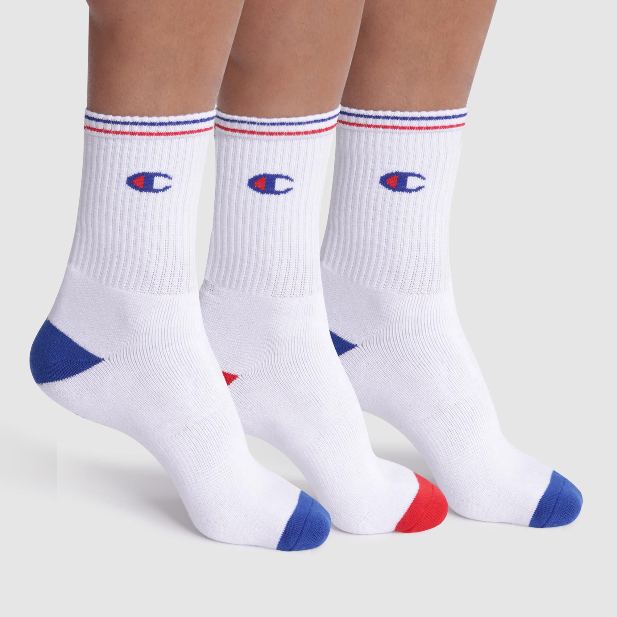 Set di 3 calzini bianchi a coste, con logo - Champion Performance, , DIM