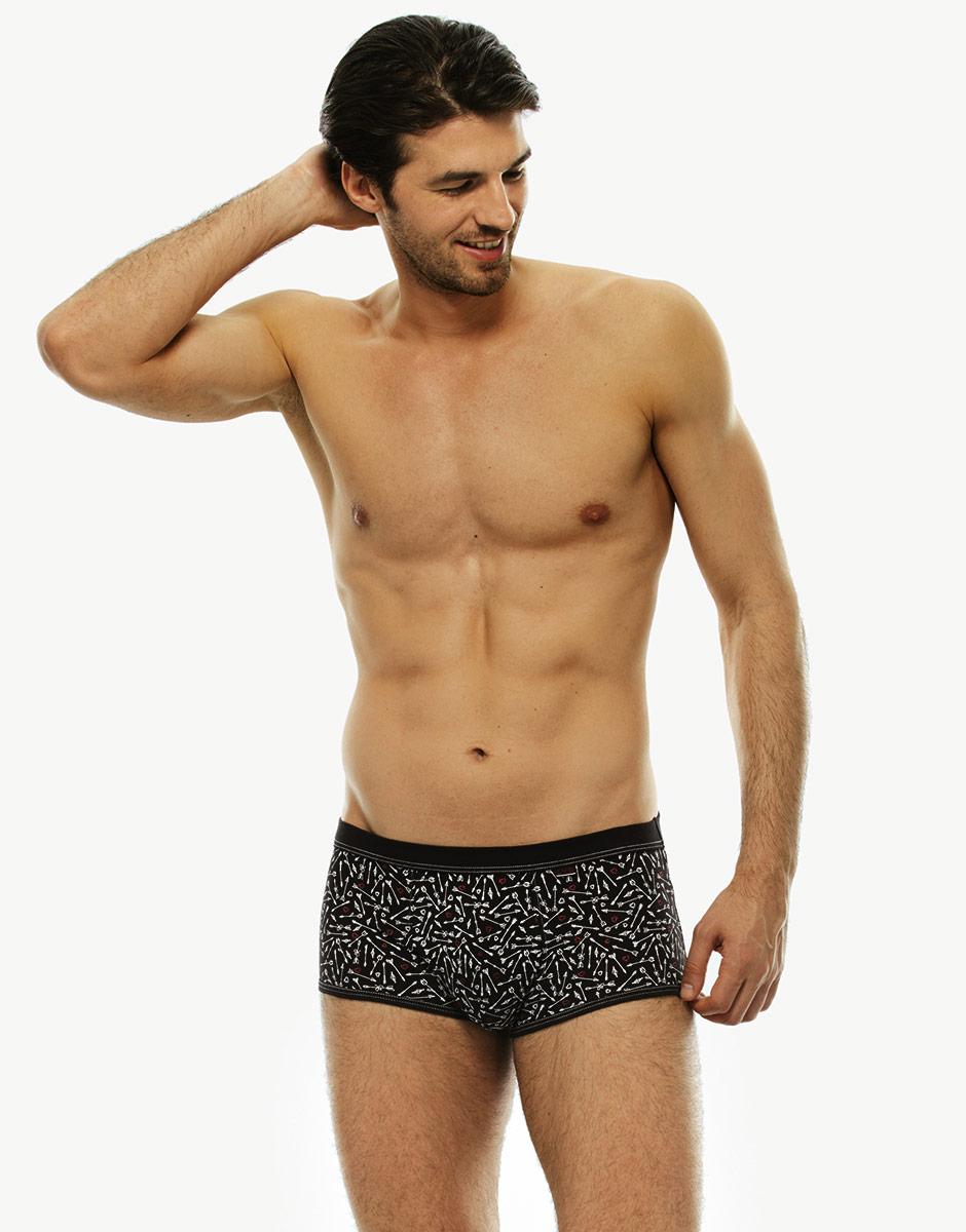 Short boxer nero stampato all over in cotone elasticizzato-LOVABLE