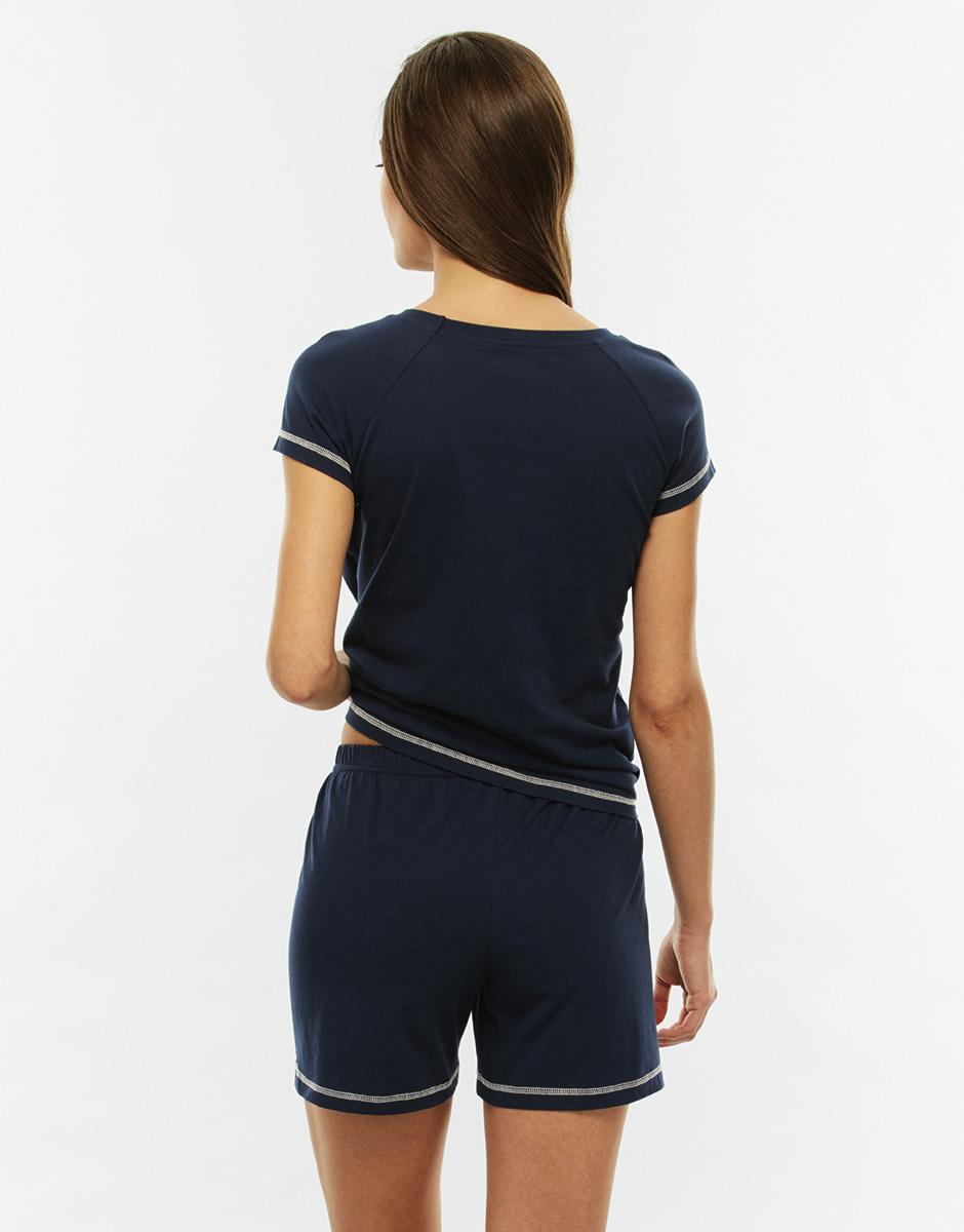 Pigiama manica e gamba corta, blu righe, in jersey di cotone-LOVABLE