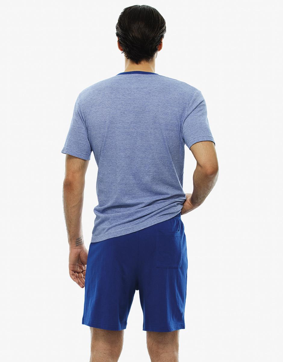 Pigiama manica e gamba corta righe blu royal in jersey fil a fil-LOVABLE