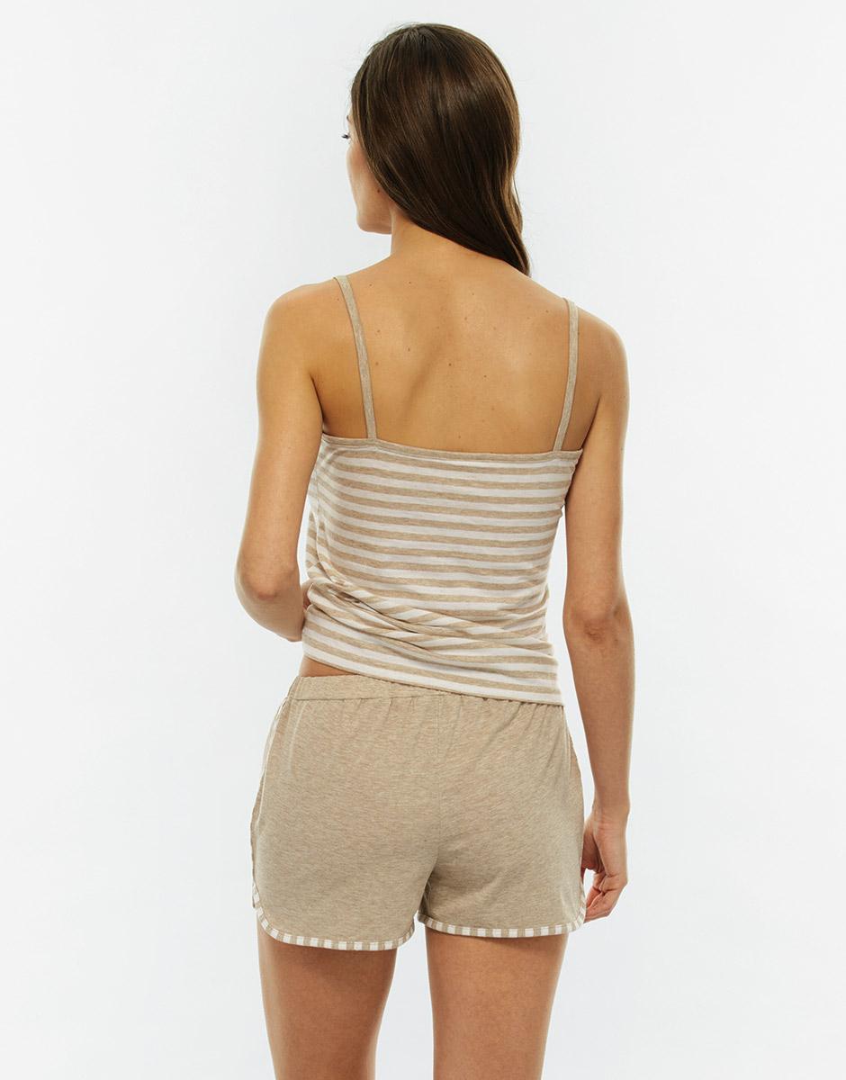 Pigiama top e gamba corta, righe skin melange, in jersey di cotone-LOVABLE