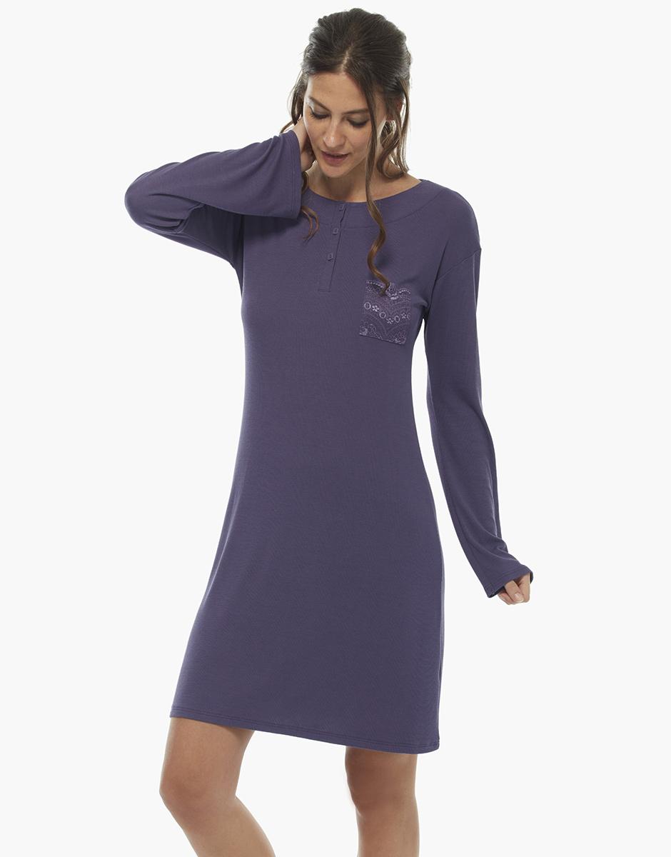 Camicia da notte manica lunga, viola, in viscosa, , LOVABLE
