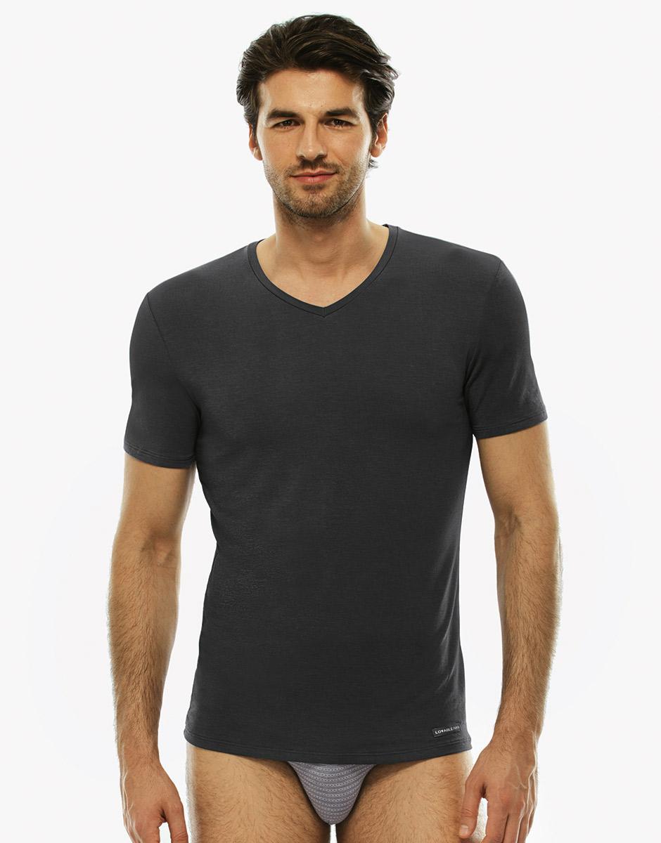 T-shirt grigio medio, in micromodal con scollo a V-LOVABLE