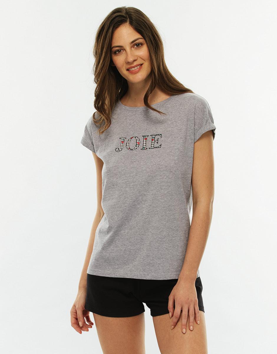 Pigiama manica e gamba corta grigio melange in jersey di cotone-LOVABLE