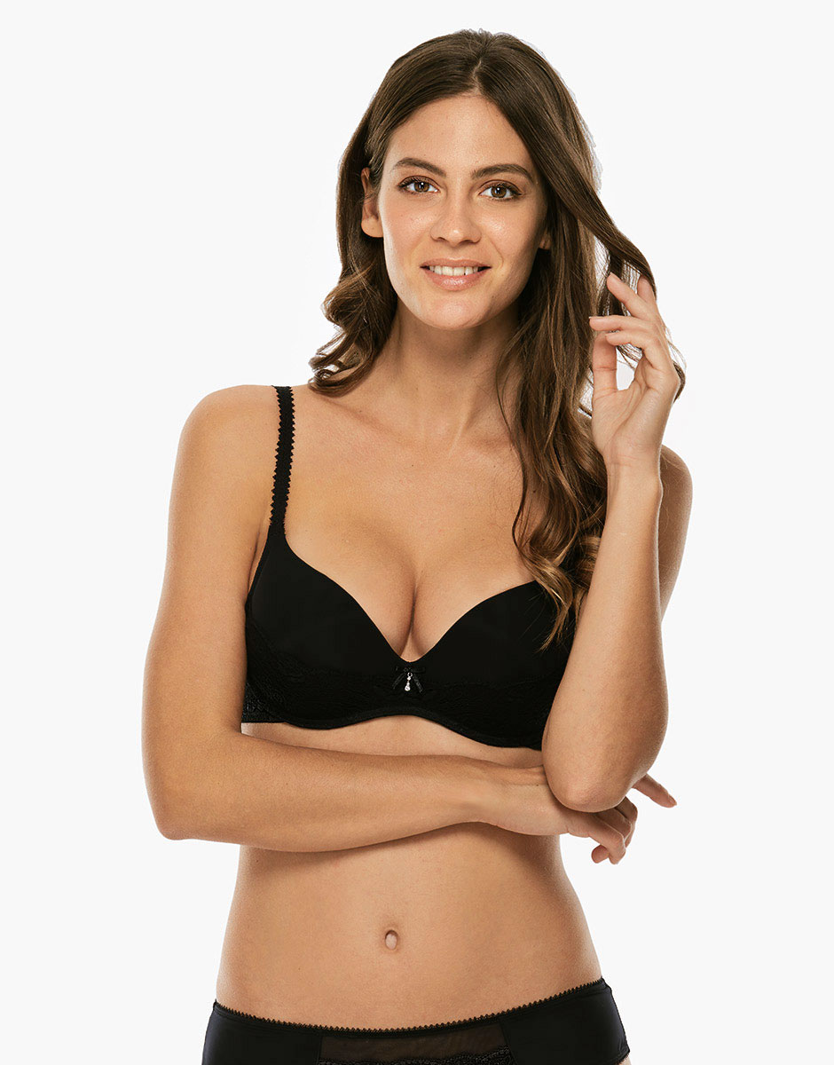 Reggiseno push up senza ferretto, spalline regolabili, nero in microfibra-LOVABLE