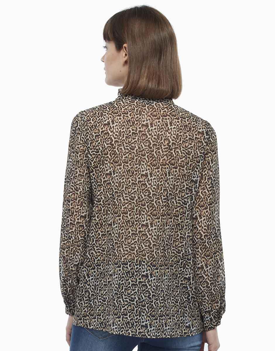 Camicia, stampa animalier, in georgette stampato, , LOVABLE