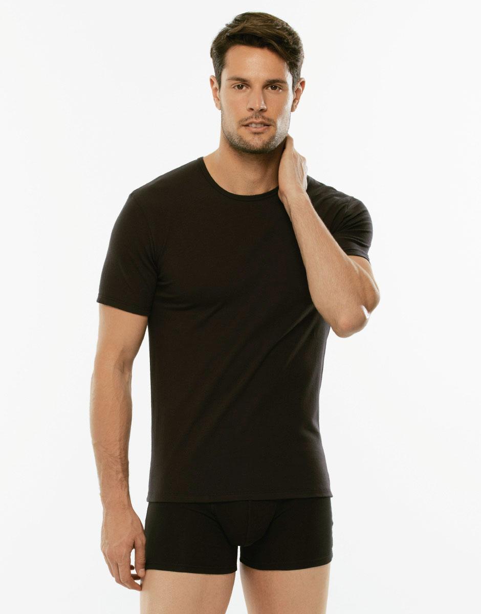 T-Shirt X-Temp nero in cotone elasticizzato, girocollo-LOVABLE