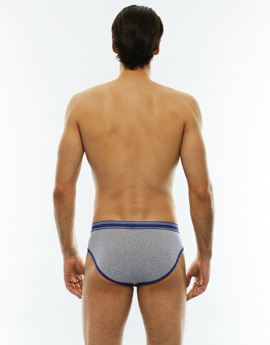 Slip blu e grigio melange, in cotone elasticizzato-LOVABLE