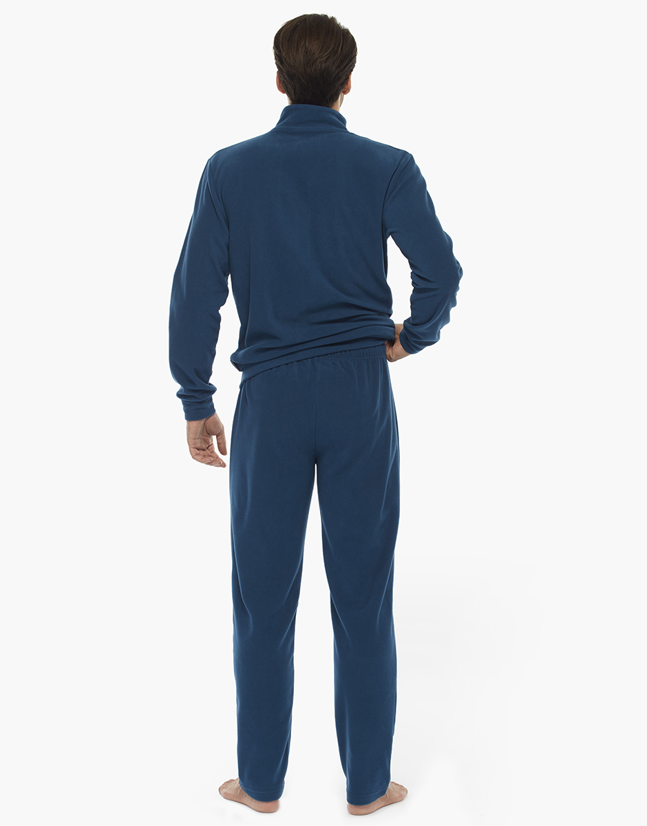 Homewear manica e gamba lunga petrolio, in pile con inserti in interlock, aperto , , LOVABLE
