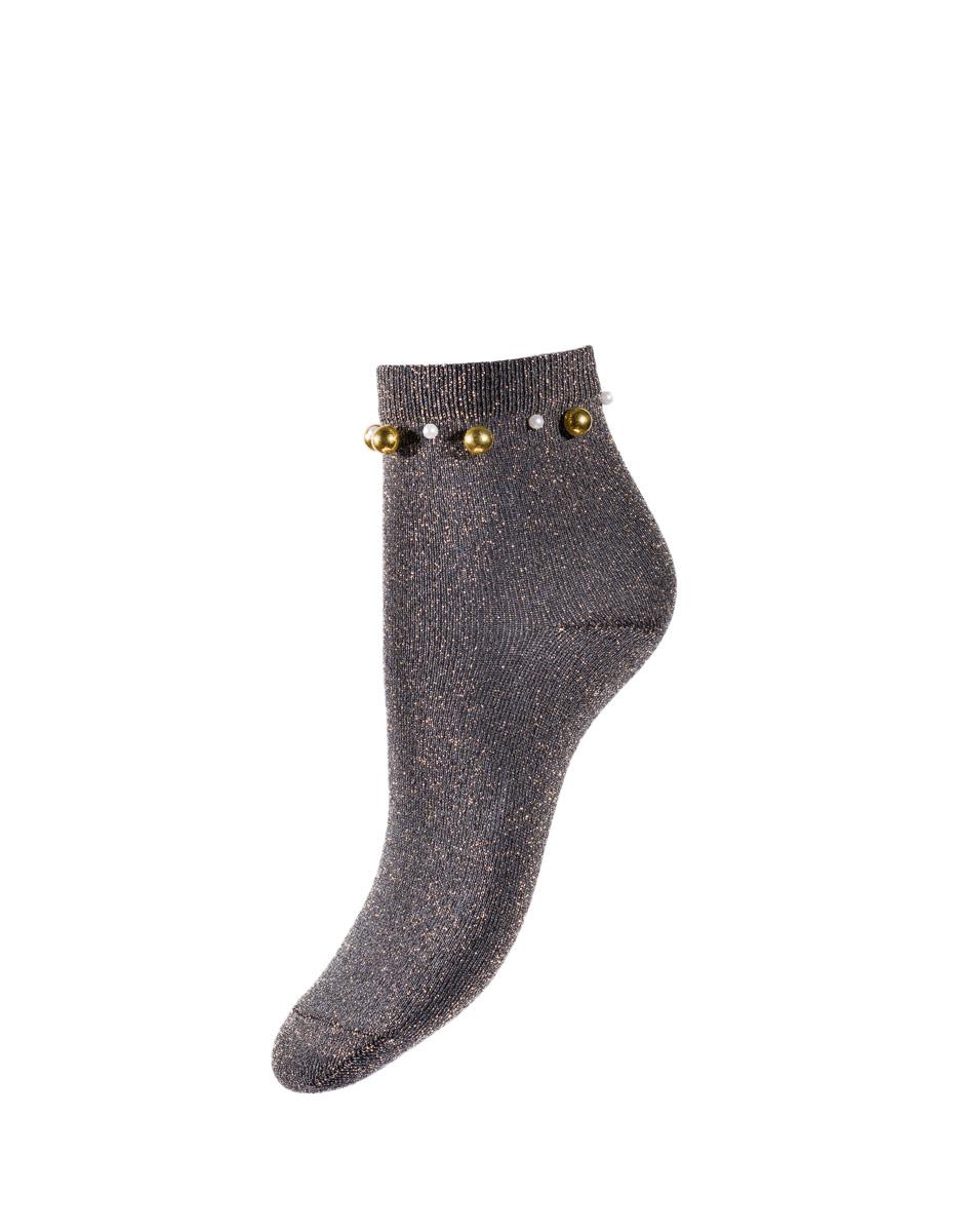 Calzini corti girocaviglia Fancy Pearls, nero e oro, , LOVABLE