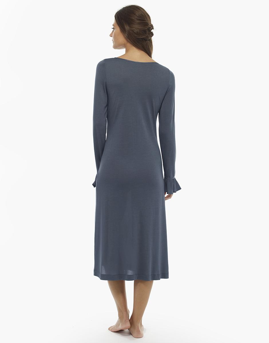 Camicia da notte manica lunga, grigio scuro, in jersey modal , , LOVABLE