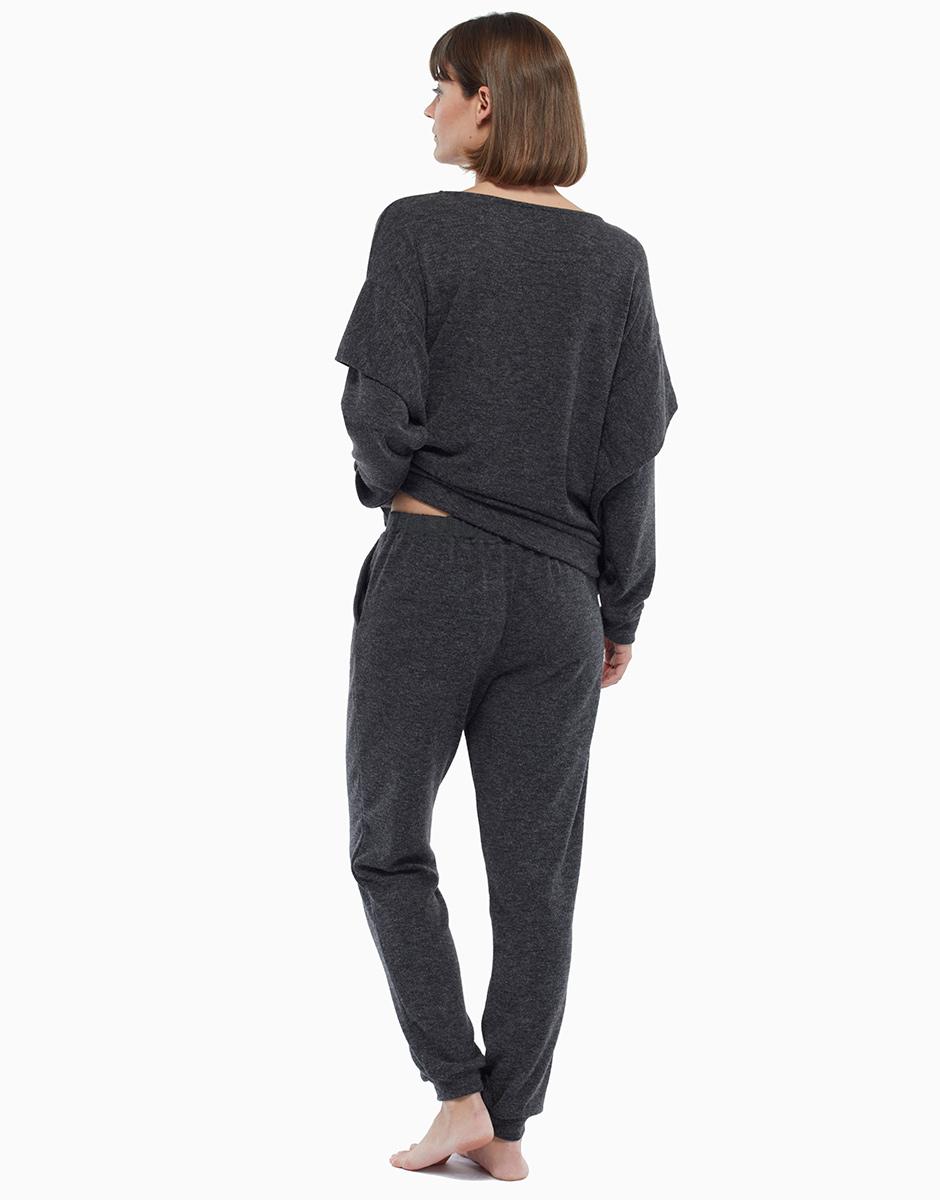 Pantalone lungo grigio melange, in maglia, , LOVABLE