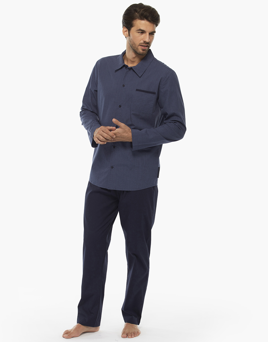 Pigiama manica e gamba lunga, blu scacchiera, in cotone con taschino con filetto in tinta unita sulla casacca, , LOVABLE
