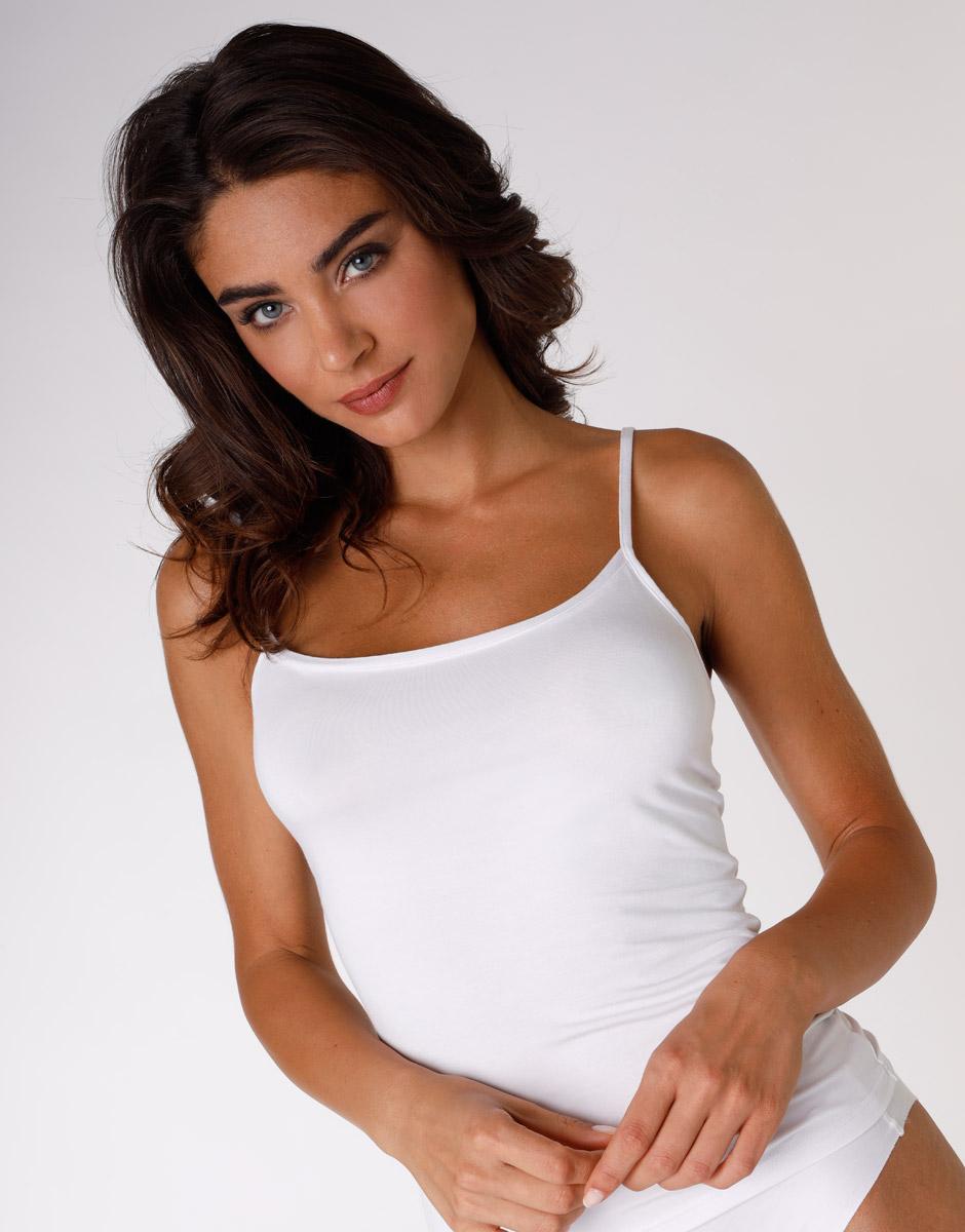 Top Basic Soul liscio bianco in viscosa-LOVABLE