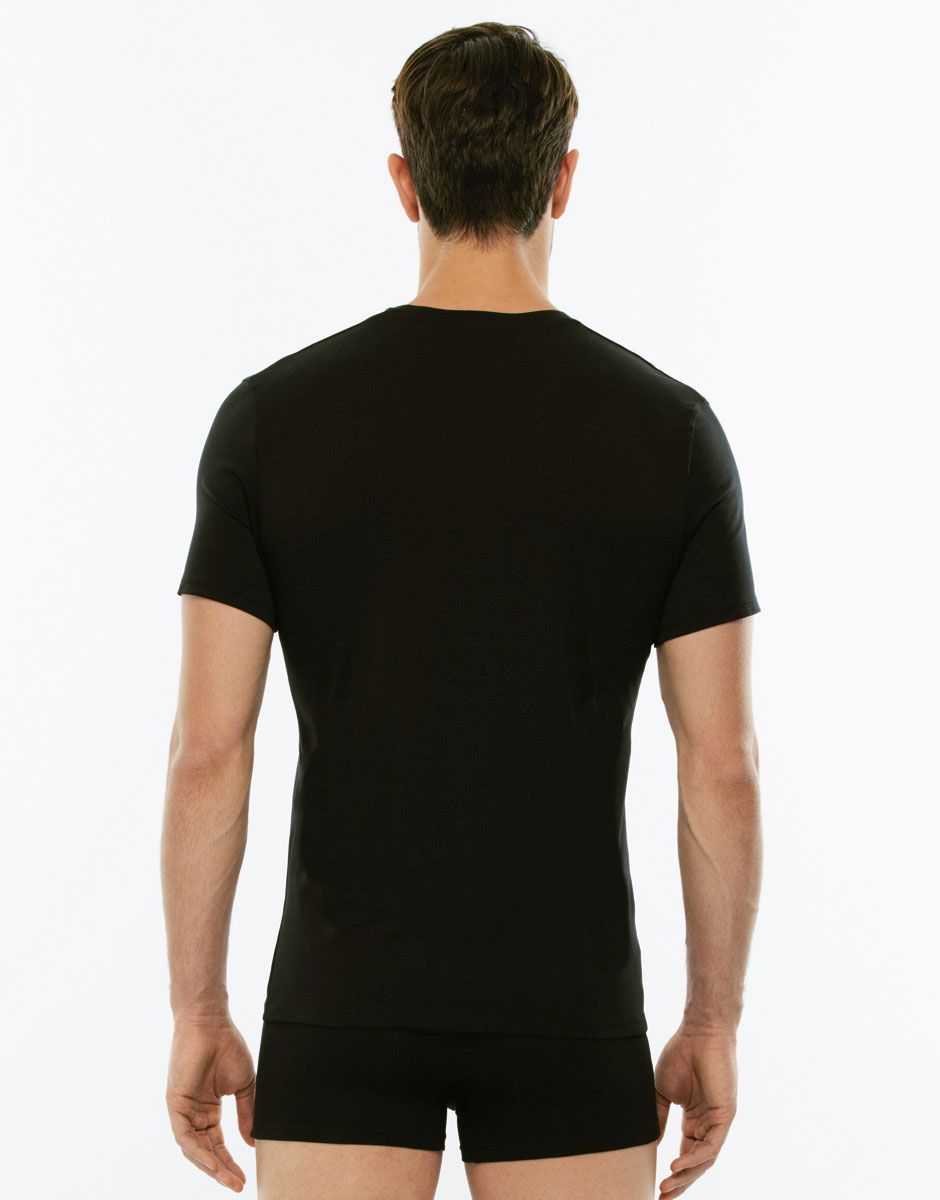 T-Shirt Cotton Stretch nero in cotone elasticizzato con scollo a V profondo-LOVABLE