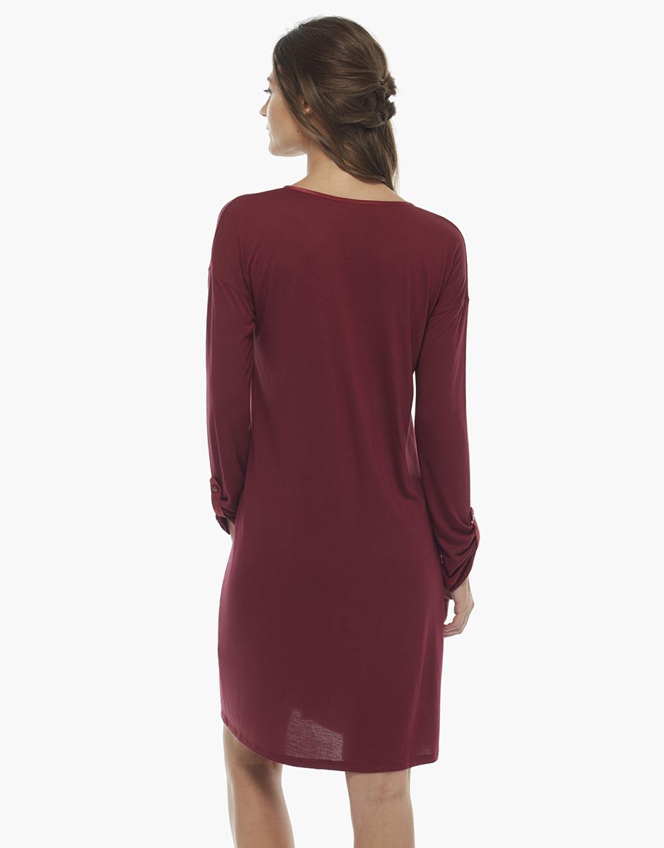 Camicia da notte manica lunga, bordeaux, in jersey modal, , LOVABLE