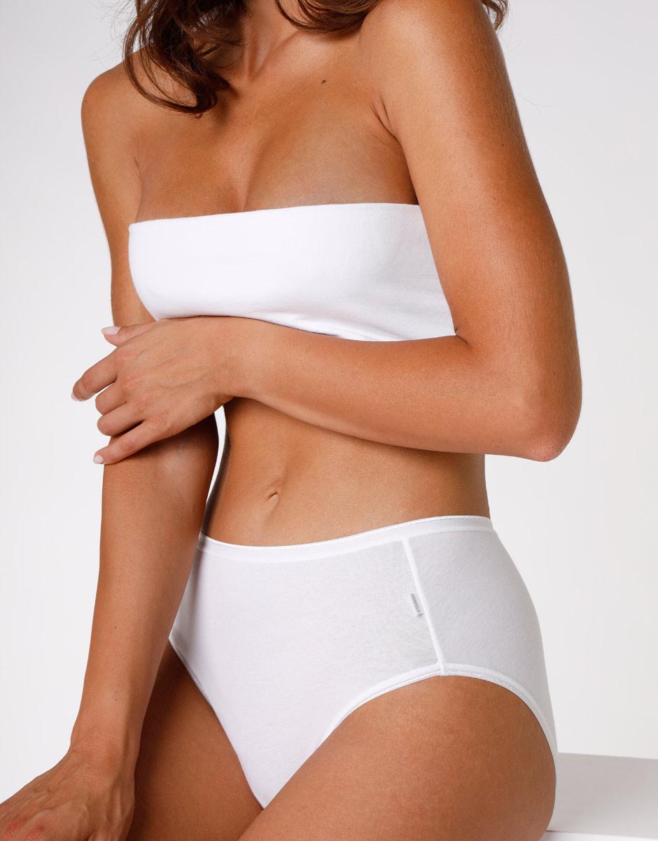 Slip midi lovely, bianco in cotone soft, , LOVABLE