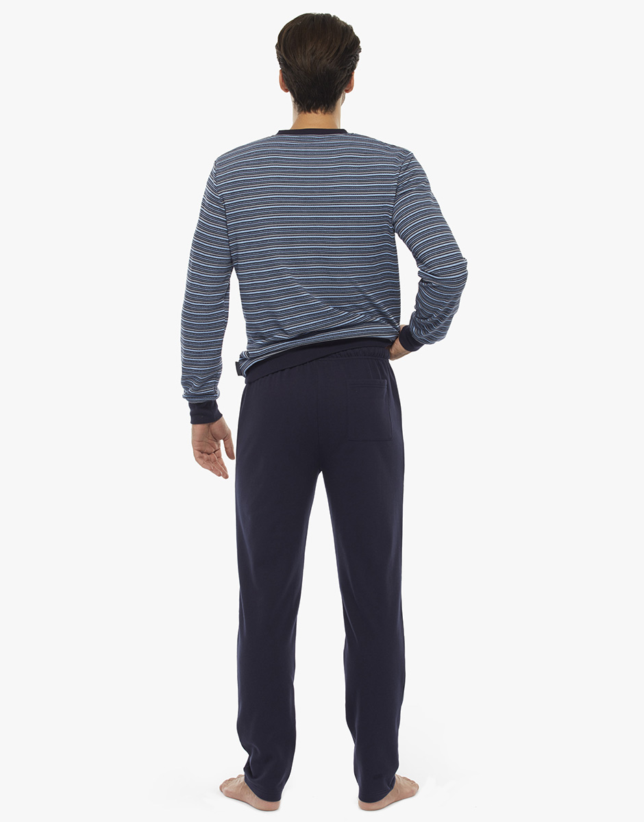 Homewear manica e gamba lunga, righe blu polvere, in felpa piquet  , , LOVABLE