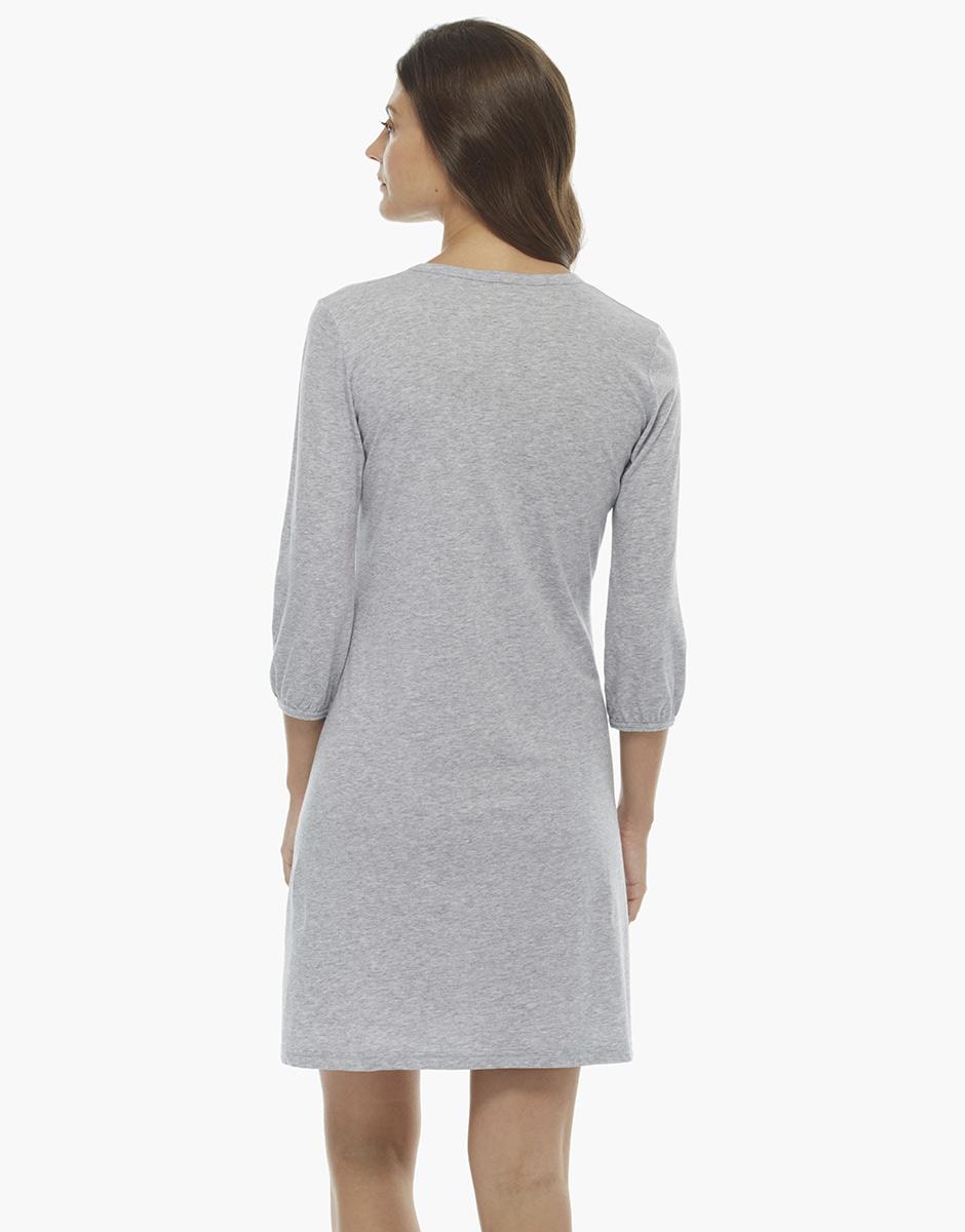 Camicia da notte manica a tre quarti grigio melange, in cotone, con elastico sul fondo manica, , LOVABLE